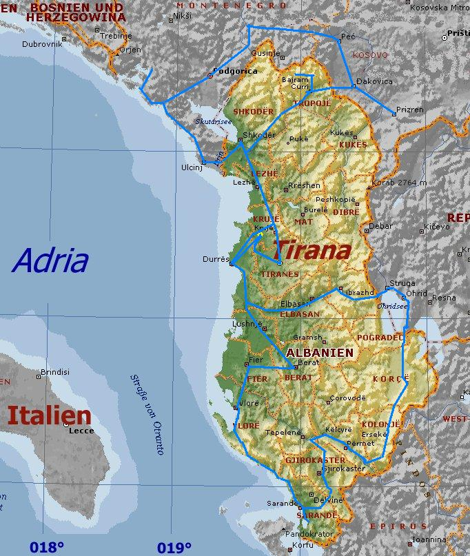Karte Albanien.Albanien Mit Den Anrainerstaaten Montenegro Kosovo Und Mazedonien